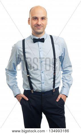 Trendy Handsome Bald Man Smiling