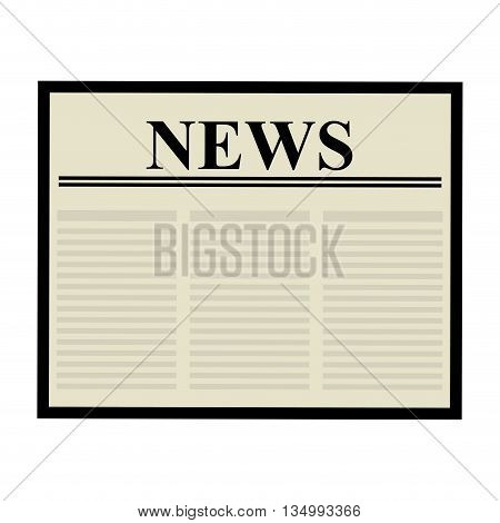 Communication concept represented by newspaper icon over flat and isolated background