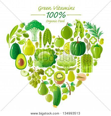 Vegetarian food icon set with organic fruits and vegetables on white background. Green and lime icons collection. Pumpkin, broccoli icon, grapes fruit, kiwi icon, avocado vegetable, asparagus icon