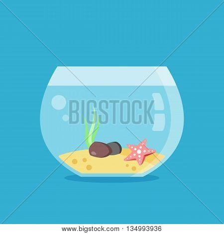 Empty aquarium. Seaweed, starfish, two stones and sand inside of round glass aquarium. Flat design graphics concept. Vector illustration