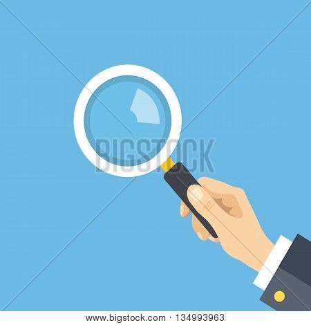 Human hand holding magnifying glass. Analysis, exploration, zoom, scrutiny, audit, inspection concepts. Flat design graphic elements. Vector illustration isolated on blue background