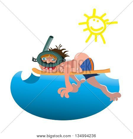 Scuba diver isolated equipment water sport activity vacation leisure vector illustration Cartoon diver isolated .