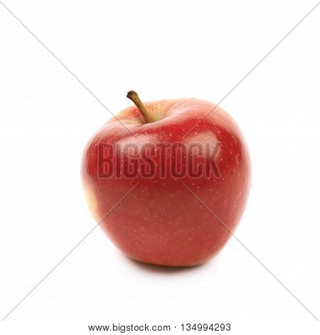 Single ripe red and golden jonagold apple isolated over the white background, side view foreshortening