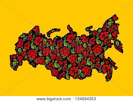 Map of Russian Khokhloma. Traditional Russian floral pattern. State border of Russian Federation. Patriotic illustration