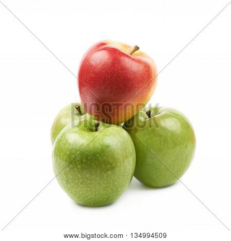 Red and green apples composition isolated over the white background
