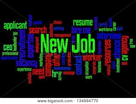 New Job, Word Cloud Concept