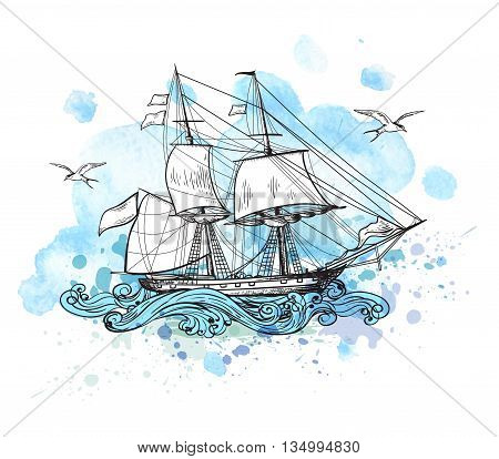 Vintage vector background with sailing vessel and blue watercolor blots.