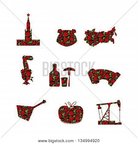 Russia Symbol Set. Russian National Sign Painted Khokhloma. State Traditional Objects. Moscow Kremli