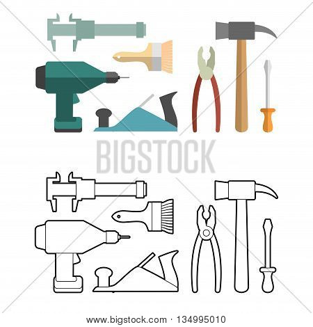 Set carpentry tools coloring book. Screwdriver and drill. Hammer and caliper. Pliers and screwdriver. Planer and brush.