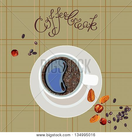 illustration with the image of a cup of coffee and inscription Coffee break