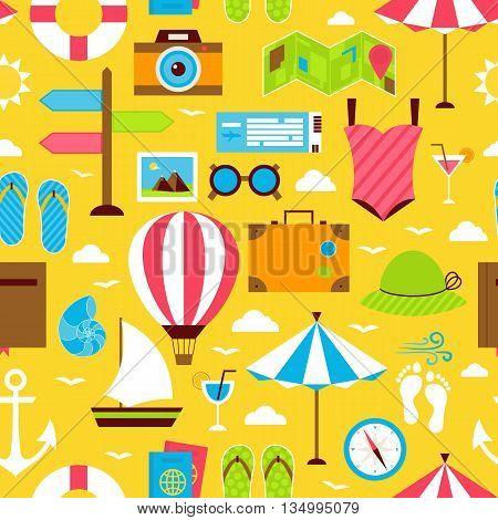 Yellow Flat Summer Travel Voyage Seamless Pattern