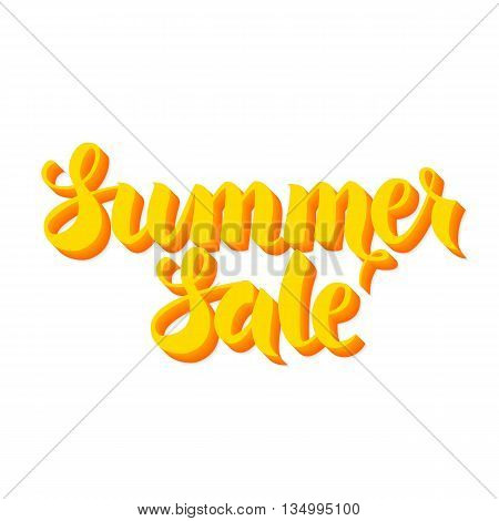 Yellow Summer Sale Lettering Isolated Over White Background