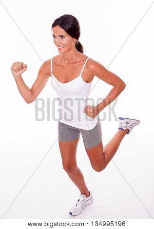 Running Brunette Woman On White Background
