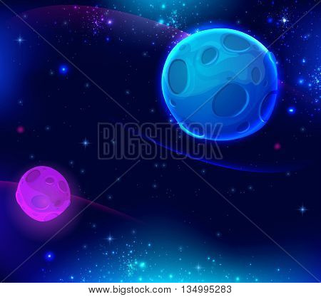 Space background with shining stars and blue planet. Vector illustration.