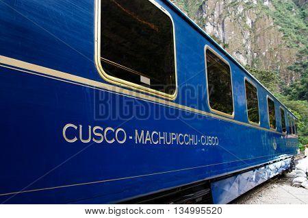 AGUAS CALIENTES PERU - MARCH 14 2015: Train connecting Cusco and Machu Picchu in Peru