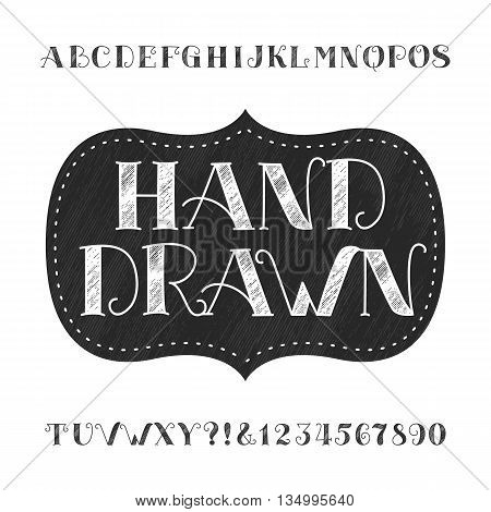 Hand drawn alphabet vector font. Type letters and numbers. Vector alphabet for labels, headlines, posters etc.
