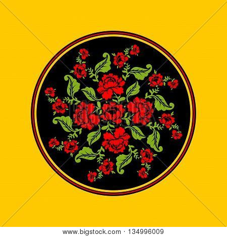 Russian National Pattern Painting Hohloma. Round Decorated Plate. Red Rose And Black Background. Ret