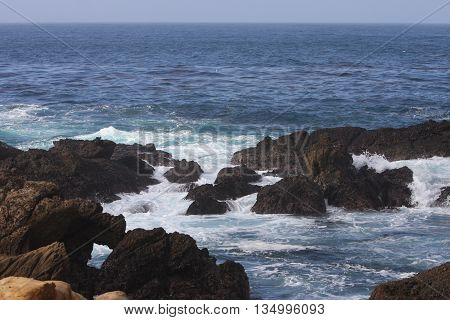 This is an image of volcanic rocks at Point Lobos in Carmel. California, U.S.A.