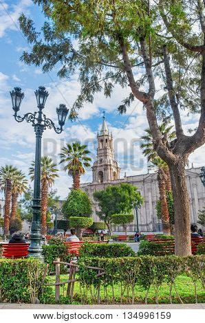 Arequipa Peru on 12 Apr 2015: Cathedral of Arequipa in Peru