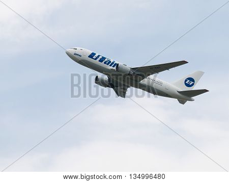 Moscow - June 4 2016: large Boeing 767-224ER UTair flies up in the Vnukovo airport June 4 2016 Moscow Russia
