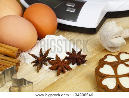 eggs, Libra, cinnamon sticks and powder in the Christmas baking