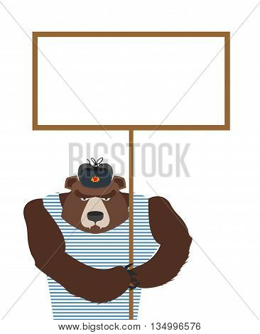 Russian Patriot Bear Holding Blank Banner. Wild Animal Angry And Empty Plate