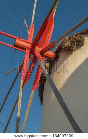 Detail of Windmill Mechanism in Mykonos Greece