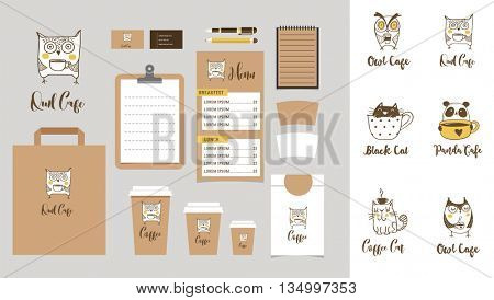Coffee shop Branding Mock-up with owls, cats and panda icons