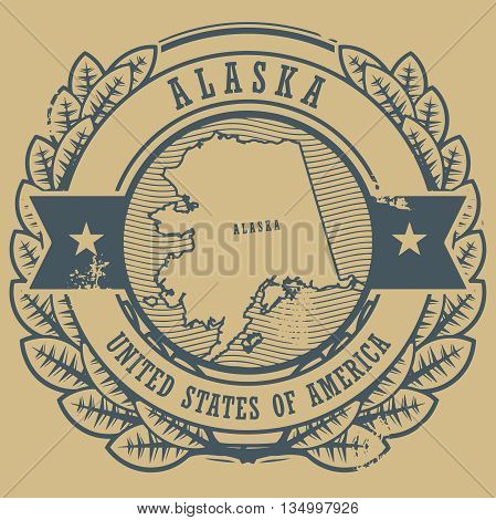 Grunge rubber stamp with name and map of Alaska, USA, vector illustration