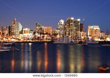 San Diego Bay At Night