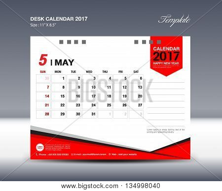 May Desk Calendar 2017 Design Template polygon vector design
