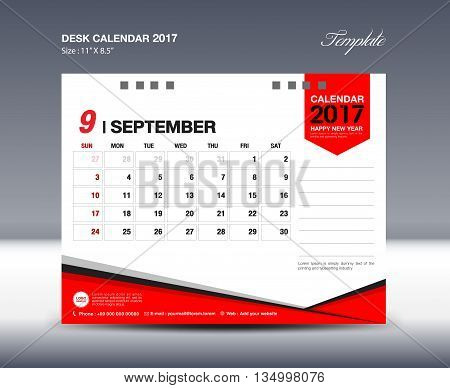 SEPTEMBER Desk Calendar 2017 Design Template polygon vector illustration