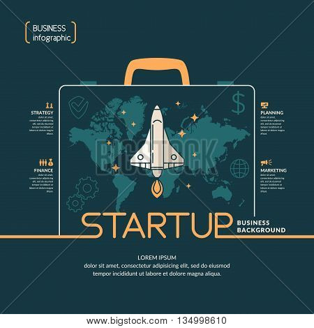 Vector linear illustration on the theme start up with Shuttle in a flat style on a dark blue background. Suitable for concept presentations, negotiations, website design, advertisement, banner, flyers
