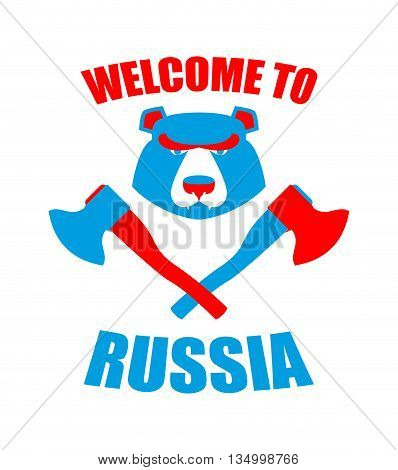 Welcome To Russia. Emblem Of Angry Head Bear And Axe. Bladed Weapons With Traditional Russian Orname