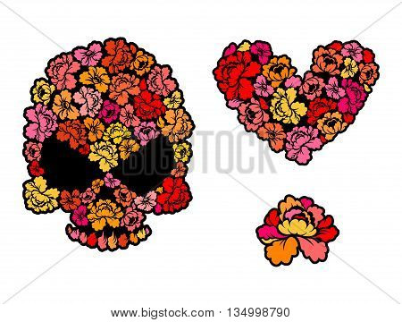 Flower Skull. Love, Heart Of Roses. Beautiful Flower. Collection Of Romantic Illustration. Set For V