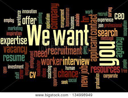 We Want You, Word Cloud Concept 9