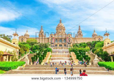 Barcelona Spain - May 2 2015: National Museum in Barcelona Placa De Espanya Spain.