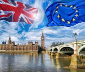 European Union And British Union Flag Flying Against Big Ben In London, England, Uk, Stay Or Leave, poster