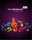 Постер, плакат: 3D красочный музыкальный фон с fly ноты