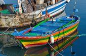 Boats moored at tourist port of Trani. Apulia. poster
