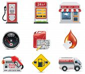foto of fuel tanker  - Set of the gas station and fuel related icons - JPG