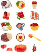 stock photo of frozen tv dinner  - Collage Montage of Tomato Images Isolated on White - JPG