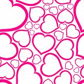 image of valentines day card  - Love seamless vector pattern made from pink hearts  - JPG