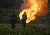 stock photo of flamethrower  - flamethrower in action used by german soldiers - JPG