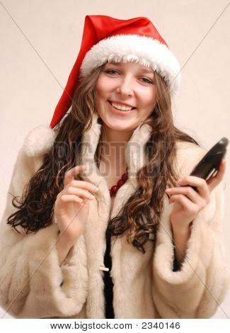 Young Model In Santa Claus Hat