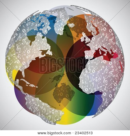 colorful world globe with musical notes on it