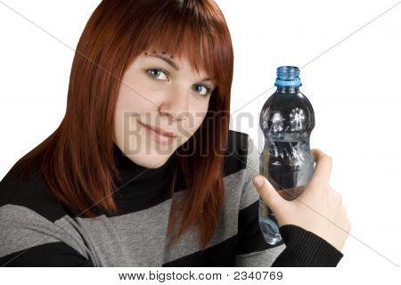 Redhead Girl Holding Water Bottle