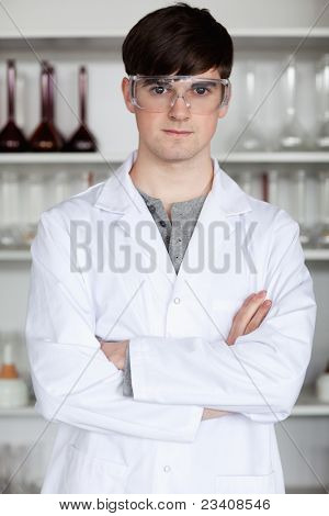 Portrait of a male scientist posing in a laboratory