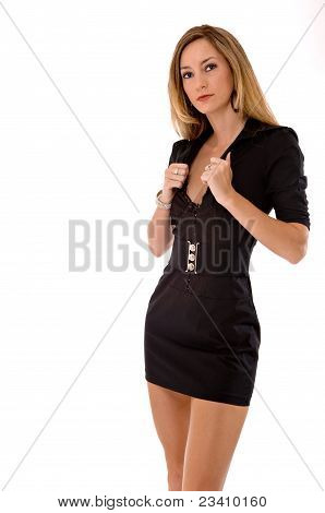 Blond Beauty In A Short Black Dress Isolated On White