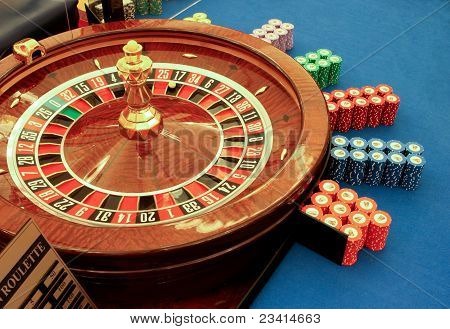 Roulette Table In Casino With Chips Close-up